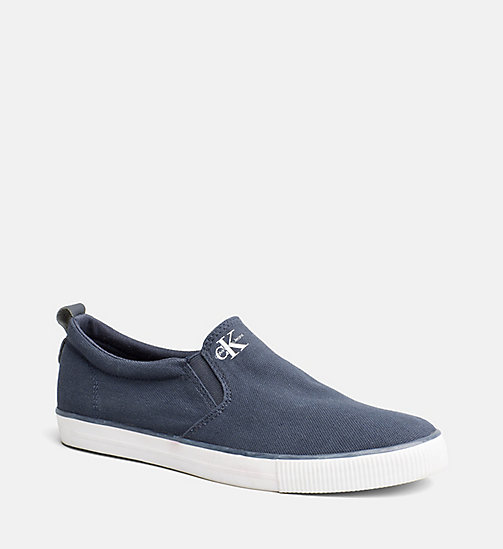 CALVIN KLEIN JEANS Canvas Slip-On Shoes - BLACK/NAVY - CALVIN KLEIN JEANS TRAINERS - main image
