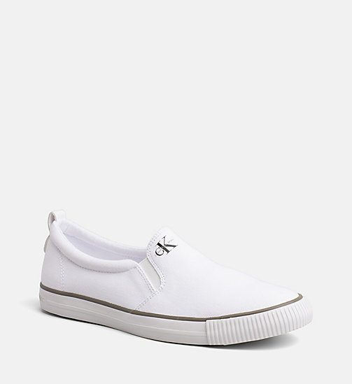 CALVIN KLEIN JEANS Canvas Slip-On Shoes - BLACK/WHITE - CALVIN KLEIN JEANS TRAINERS - main image
