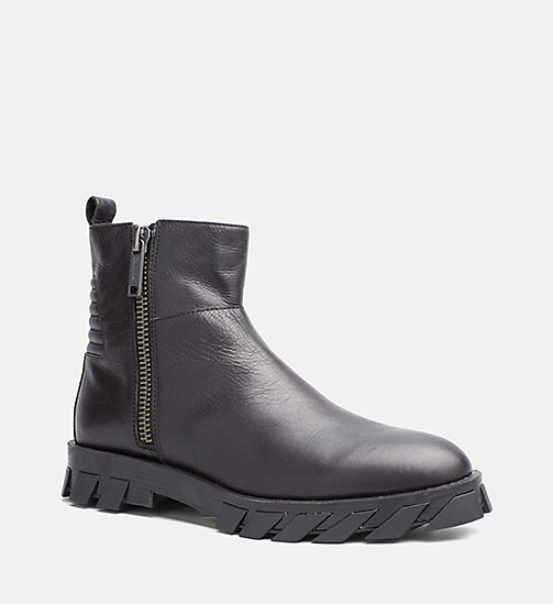 CALVIN KLEIN JEANS Leather Zip Ankle Boots - BLACK - CALVIN KLEIN JEANS SHOES & ACCESSORIES - main image