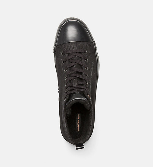 CALVIN KLEIN JEANS Twill High-Top Sneakers - BLACK - CALVIN KLEIN JEANS TRAINERS - detail image 1