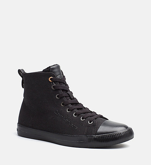 CALVIN KLEIN JEANS Twill High-Top Sneakers - BLACK - CALVIN KLEIN JEANS TRAINERS - main image