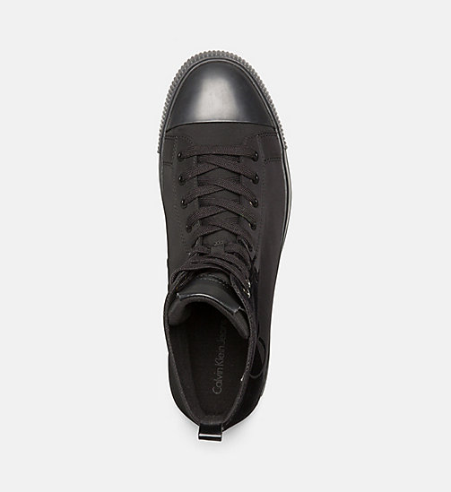 CALVIN KLEIN JEANS Nylon Twill High-Top Sneakers - BLACK/BLACK - CALVIN KLEIN JEANS TRAINERS - detail image 1