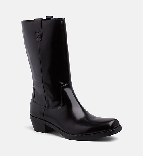 CALVIN KLEIN COLLECTION Leather Cowboy Boots - BLACK - CALVIN KLEIN COLLECTION MODERN VARSITY - main image