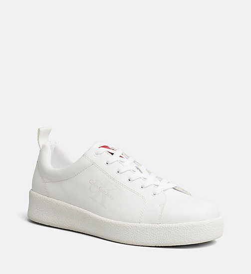 CALVIN KLEIN JEANS Leather Sneakers - WHITE - CALVIN KLEIN JEANS TRAINERS - main image
