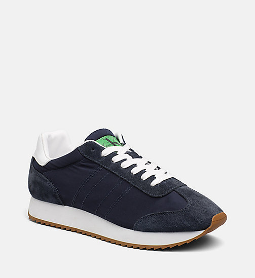 CALVIN KLEIN JEANS Suede Nylon Sneakers - INDIGO - CALVIN KLEIN JEANS TRAINERS - main image