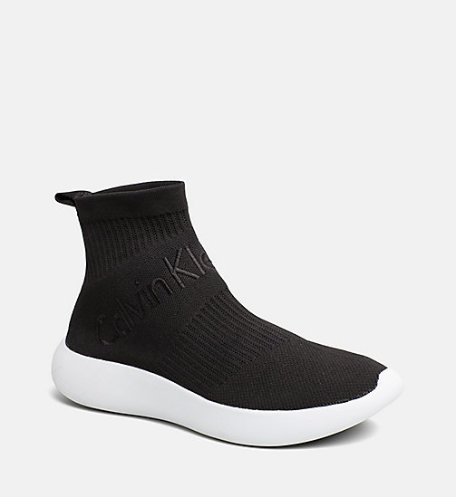 CALVIN KLEIN JEANS Knit High-Top Sneakers - BLACK - CALVIN KLEIN JEANS TRAINERS - main image