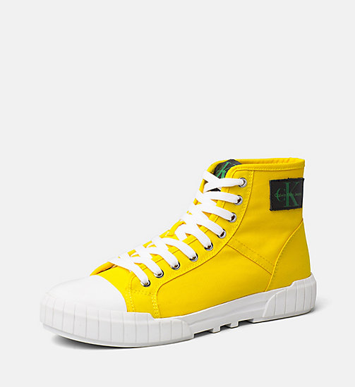 CALVIN KLEIN JEANS Nylon High-Top Sneakers - ACCENT YELLOW - CALVIN KLEIN JEANS TRAINERS - main image