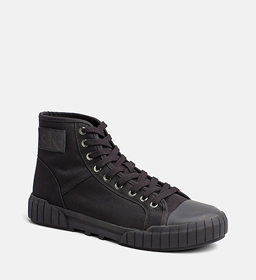CALVIN KLEIN JEANS Nylon High-Top Sneakers - BLACK/BLACK - CALVIN KLEIN JEANS TRAINERS - main image