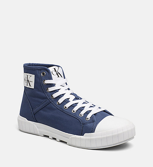 CALVIN KLEIN JEANS Nylon High-Top Sneakers - STEEL BLUE - CALVIN KLEIN JEANS TRAINERS - main image