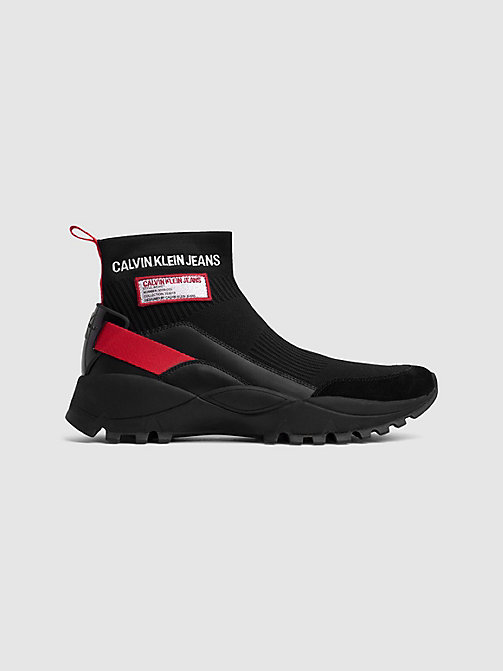 CALVIN KLEIN JEANS Knit High-Top Trainers - BLACK/TOMATO - CALVIN KLEIN JEANS TRAINERS - main image
