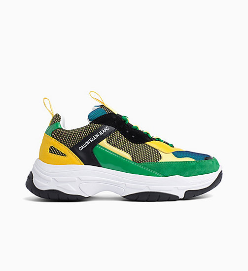 CALVIN KLEIN JEANS Leather Trainers - BLACK/GREEN/LEMON - CALVIN KLEIN JEANS TRAINERS - main image