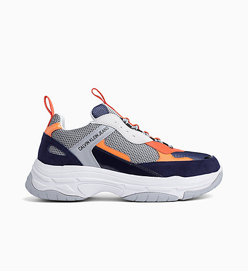 CALVIN KLEIN JEANS Leather Trainers - NAVY/LIGHT GREY/ORANGE - CALVIN KLEIN JEANS TRAINERS - main image