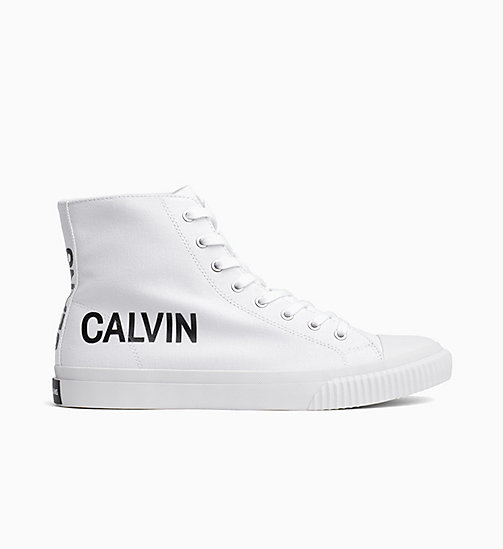 CALVIN KLEIN JEANS Canvas High-Top Trainers - BRIGHT WHITE - CALVIN KLEIN JEANS TRAINERS - main image