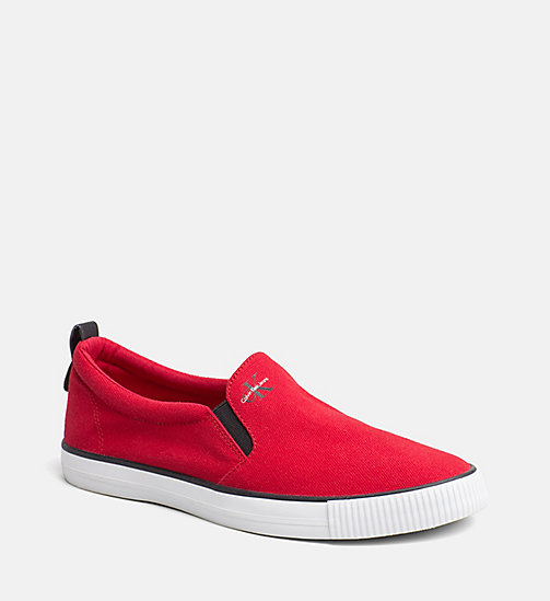 CALVIN KLEIN JEANS Denim Slip-On Shoes - RED - CALVIN KLEIN JEANS TRAINERS - main image