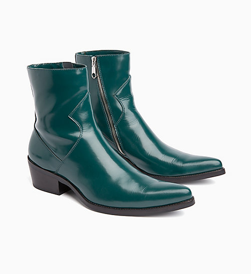 CALVIN KLEIN JEANS Leather Ankle Boots - BOTTLE GREEN - CALVIN KLEIN JEANS INVEST IN COLOUR - detail image 1