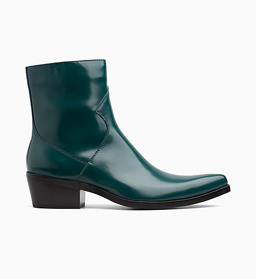 CALVIN KLEIN JEANS Leather Ankle Boots - BOTTLE GREEN - CALVIN KLEIN JEANS INVEST IN COLOUR - main image