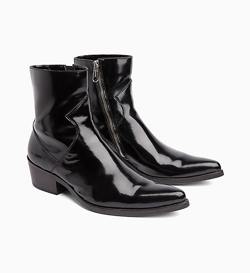 CALVIN KLEIN JEANS Leather Ankle Boots - BLACK - CALVIN KLEIN JEANS BOLD GRAPHICS - detail image 1