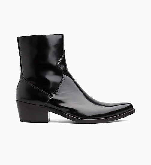 CALVIN KLEIN JEANS Leather Ankle Boots - BLACK - CALVIN KLEIN JEANS BOLD GRAPHICS - main image