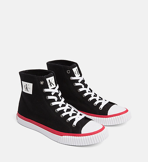 CALVIN KLEIN JEANS Canvas High-Top Trainers - BLACK - CALVIN KLEIN JEANS TRAINERS - detail image 1