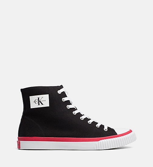 CALVIN KLEIN JEANS Canvas High-Top Trainers - BLACK - CALVIN KLEIN JEANS TRAINERS - main image