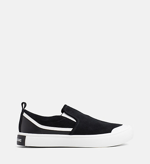 CALVIN KLEIN JEANS Suede Slip-On Shoes - BLACK/WHITE/BLACK - CALVIN KLEIN JEANS FLAT SHOES - main image