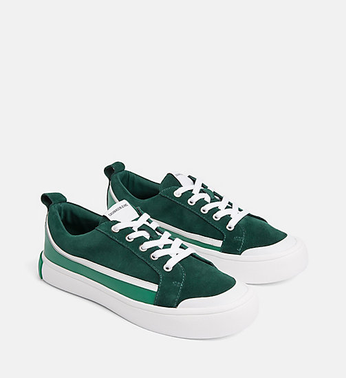 CALVIN KLEIN JEANS Suede Trainers - GREEN/WHITE/GREEN - CALVIN KLEIN JEANS TRAINERS - detail image 1