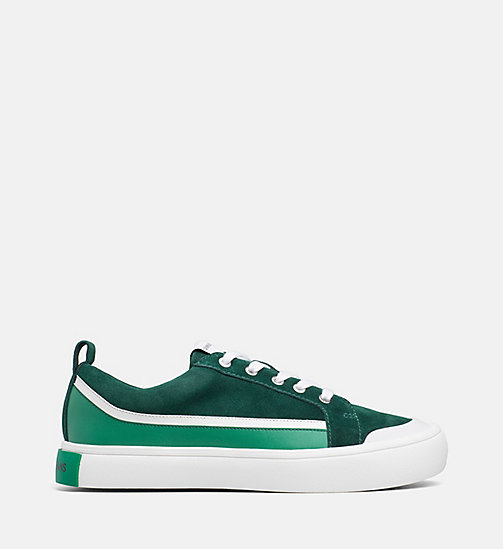 CALVIN KLEIN JEANS Suede Trainers - GREEN/WHITE/GREEN - CALVIN KLEIN JEANS TRAINERS - main image