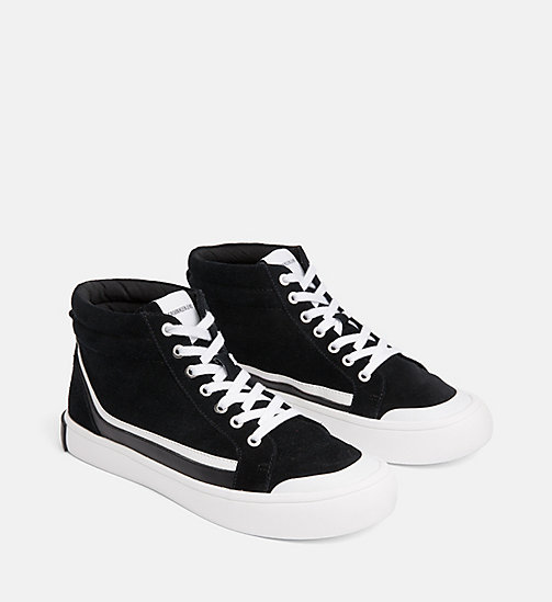CALVIN KLEIN JEANS Suede High-Top Sneakers - BLACK/WHITE/BLACK - CALVIN KLEIN JEANS TRAINERS - detail image 1