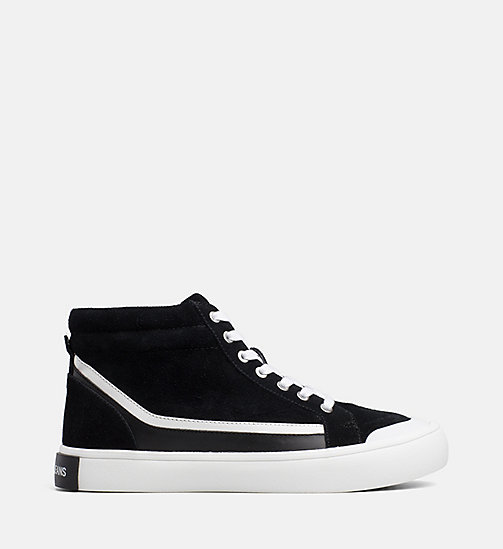 CALVIN KLEIN JEANS Suede High-Top Sneakers - BLACK/WHITE/BLACK - CALVIN KLEIN JEANS TRAINERS - main image