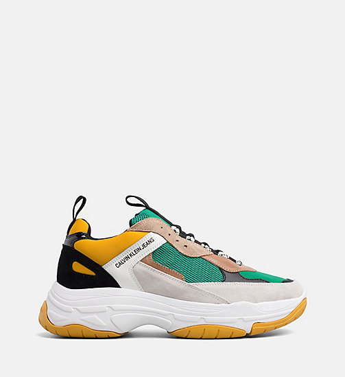 CALVIN KLEIN JEANS Leather Chunky Trainers - GREEN/YELLOW/OFF WHITE/WHITE - CALVIN KLEIN JEANS TRAINERS - main image