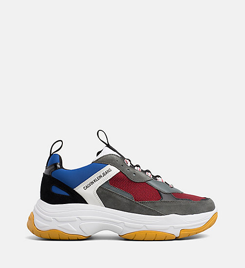 CALVIN KLEIN JEANS Chunky Sneaker in pelle - ROSSO/BLUE/GREY/WHITE - CALVIN KLEIN JEANS SOGNI D'AUTUNNO - immagine principale