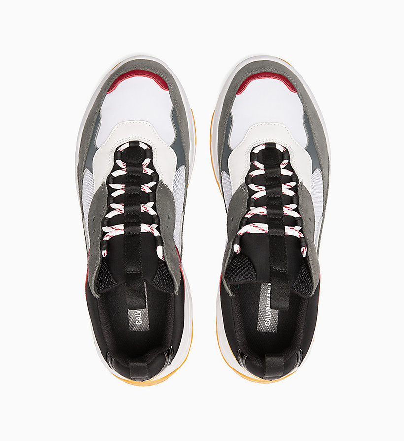 CALVIN KLEIN JEANS Leather Chunky Trainers - ROSSO/BLUE/GREY/WHITE - CALVIN KLEIN JEANS MEN - detail image 3