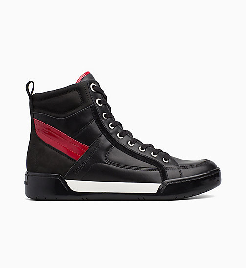 CALVIN KLEIN JEANS Leather High-Top Sneakers - BLACK/BLACK/SCARLET - CALVIN KLEIN JEANS TRAINERS - main image