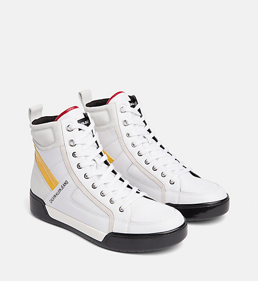 CALVIN KLEIN JEANS Leather High-Top Sneakers - WHITE/WHITE/SUNFLOWER - CALVIN KLEIN JEANS TRAINERS - detail image 1