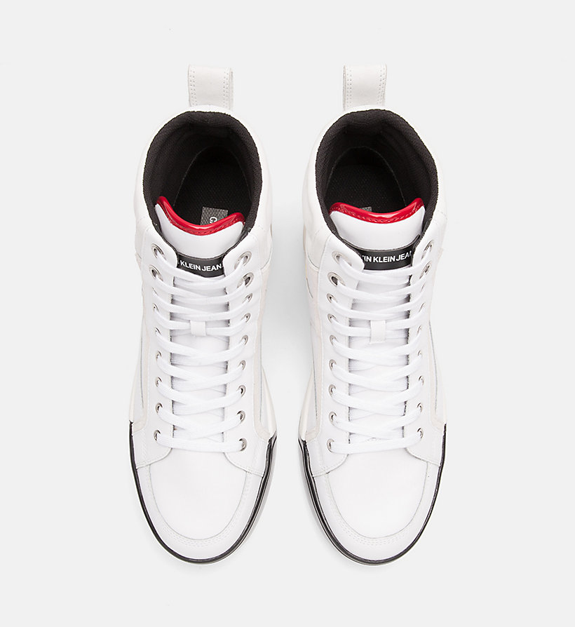 CALVIN KLEIN JEANS Leather High-Top Trainers - BLACK/BLACK/SCARLET - CALVIN KLEIN JEANS MEN - detail image 3