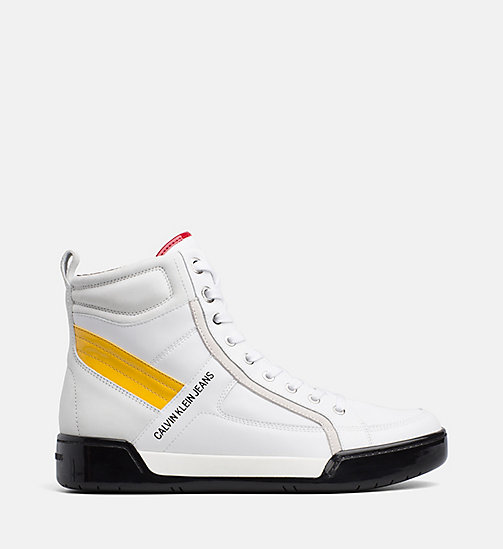 CALVIN KLEIN JEANS Leather High-Top Trainers - WHITE/WHITE/SUNFLOWER - CALVIN KLEIN JEANS IN THE THICK OF IT FOR HIM - main image