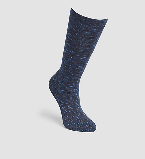 CALVINKLEIN Flat Knit Crew Socks - BLUE RAIN HTR - CALVIN KLEIN SHOES & ACCESSORIES - main image