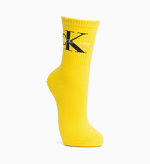 CALVIN KLEIN JEANS Logo Crew Socks - YELLOW - CALVIN KLEIN JEANS SPORTS SOCKS & ACCESSORIES - main image