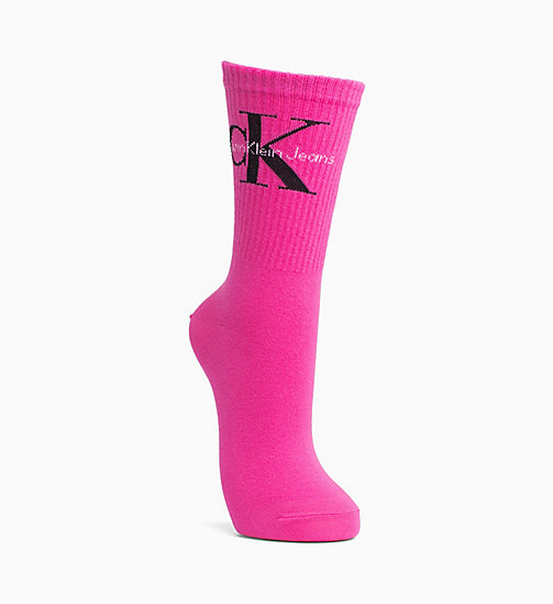 CALVIN KLEIN JEANS Logo Crew Socks - SHOCKING PINK - CALVIN KLEIN JEANS SOCKS & TIGHTS - main image