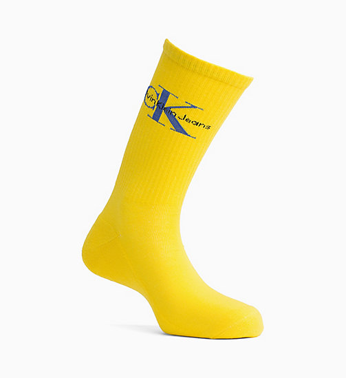 CALVIN KLEIN JEANS Logo Rib Crew Socks - YELLOW - CALVIN KLEIN JEANS SPORTS SOCKS & ACCESSORIES - main image