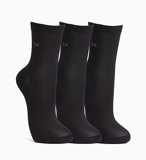 CALVINKLEIN 3 Pack Rib Crew Socks - BLACK - CALVIN KLEIN SOCKS & TIGHTS - main image