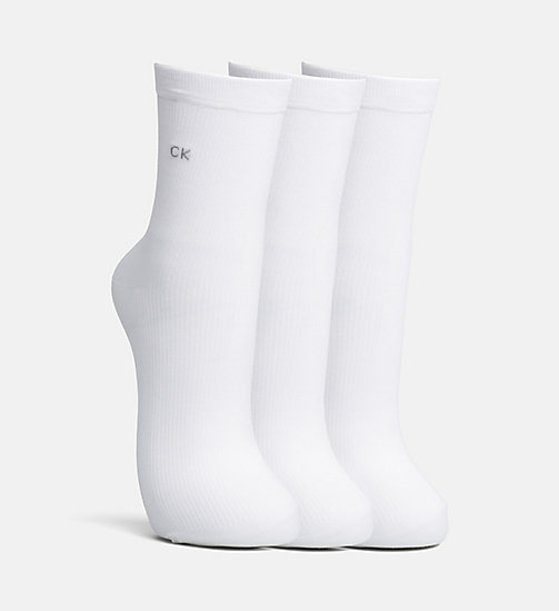 CALVINKLEIN 3 Pack Rib Crew Socks - WHITE - CALVIN KLEIN SHOES & ACCESORIES - main image