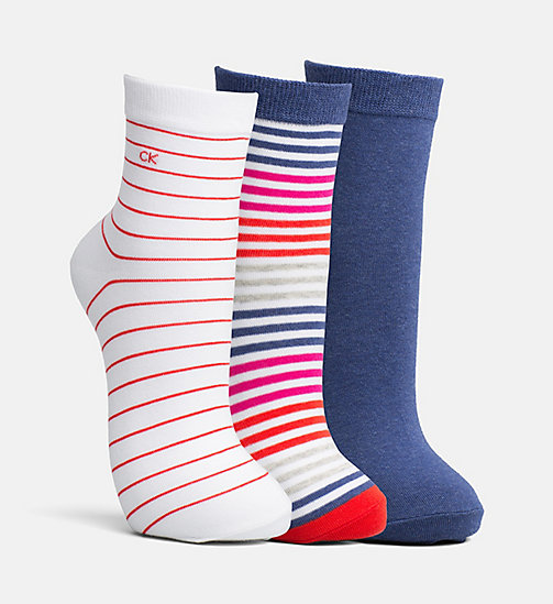 CALVINKLEIN 3 Pack Stripe Ankle Socks - ASST.97 - CALVIN KLEIN SHOES & ACCESSORIES - main image