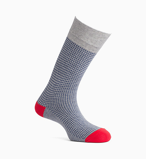 CALVINKLEIN Hounds Tooth Crew Socks - GREY HEATHER -  SOCKS - main image