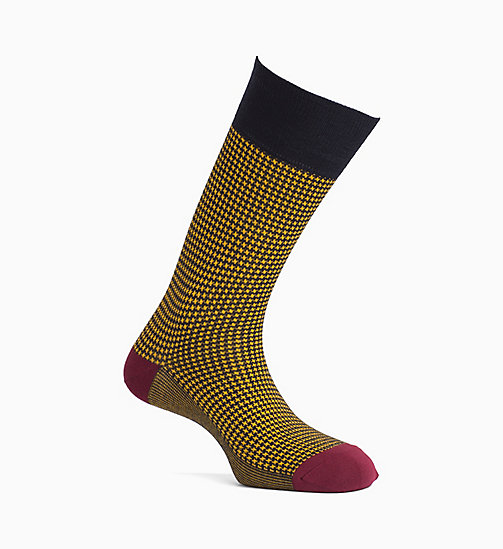 CALVINKLEIN Hounds Tooth Crew Socks - NAVY/SAFFRON - CALVIN KLEIN ALL GIFTS - main image