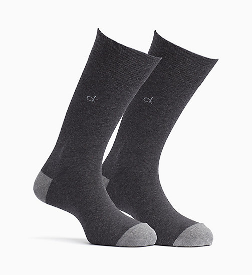 CALVINKLEIN 2 Pack Shadow Stripe Socks - GRAPHITE HEATHER - CALVIN KLEIN UNDERWEAR - main image