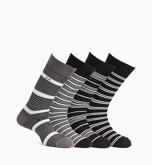 CALVINKLEIN 4 Pack Striped Socks Gift Box - BLACK/BLACK/STORM/GRAPHITE - CALVIN KLEIN UNDERWEAR - main image