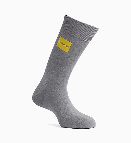 CALVIN KLEIN JEANS Logo Patch Crew Socks - OXFORD HEATHER - CALVIN KLEIN JEANS LOGO SHOP - main image