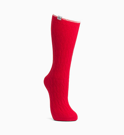 CALVIN KLEIN Cable Crew Socks - CRIMSON RED - CALVIN KLEIN WOMEN - main image