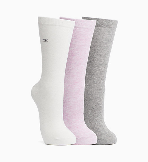 CALVINKLEIN Sparkle Crew Socks Gift Box - ECRU/GREY/ORCHID - CALVIN KLEIN SOCKS & TIGHTS - main image